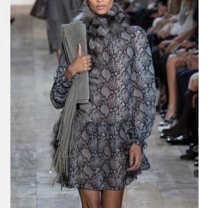 Michael Kors Gray Snake Print Silk Chiffon Dress